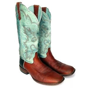 "Ariat Leather 11"" Teal Brown Cowgirl Boots Sz 11"